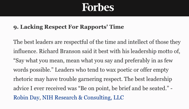 NIHR Managing Partner Robin Day Featured In Forbes: 14 Common Things Leaders Do That Hurt Their Credibility
